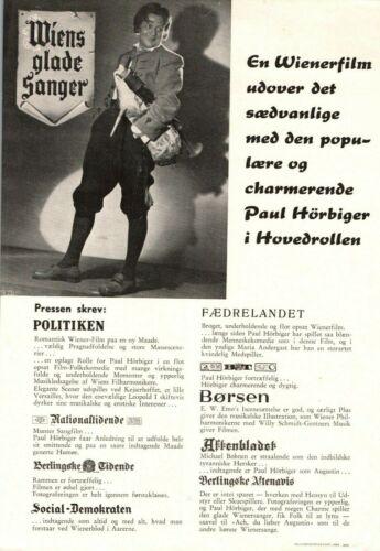 Der liebe Augustin Paul Hörbiger Vintage 1941 1 Page Danish Movie Press Release