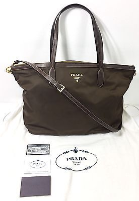 NEW PRADA Tessuto Saffiano Nylon Tote Bag Brown Saks Fifth Ave BR4257