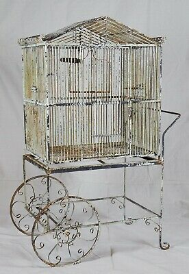 Vintage Rustic Metal Bird Cage House on Trolley Cart Caddy Stand - garden decor