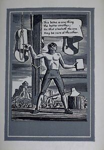 Rockwell-Kent-The-Executioner-Bookplate-1950-Rare-Vintage-Book-Collectible