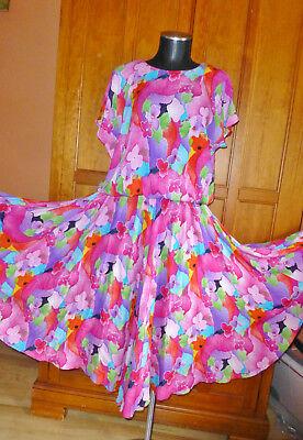80s Dresses | Casual to Party Dresses Vtg 80s CAROLE LITTLE Colorful Print Gauze Rayon Drop Waist Full Skirt DRESS $68.00 AT vintagedancer.com