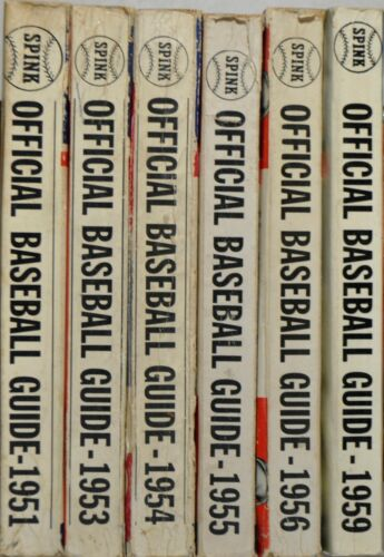 Official Baseball Guide Magazines - 6 Issues From The 1950s.