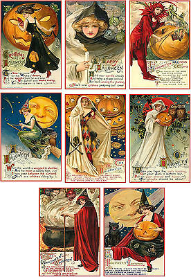 Vintage images Halloween greetings pumpkin cards tags altered art ATC set of - Halloween Atc Cards