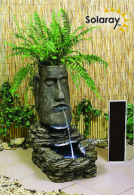 Planter Island Head Solar Powered Garden Water Feature Self Contained Light
