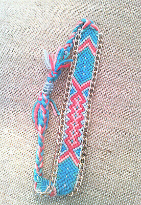 36GT- Braided/Woven Aqua/Pink Bracelet with chain, Slip knot, Ln1728, 3/4