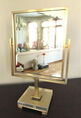 Vintage Charles Hollis Jones Vanity Tabletop Swivel Mirror Brass and Lucite