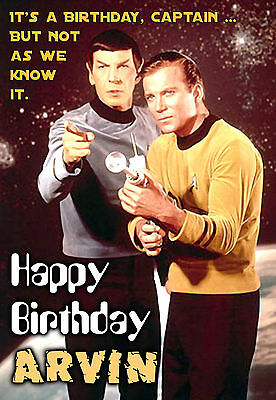 Original Star Trek Kirk and Spock Spoof Birthday PERSONALISED Greeting Art Card