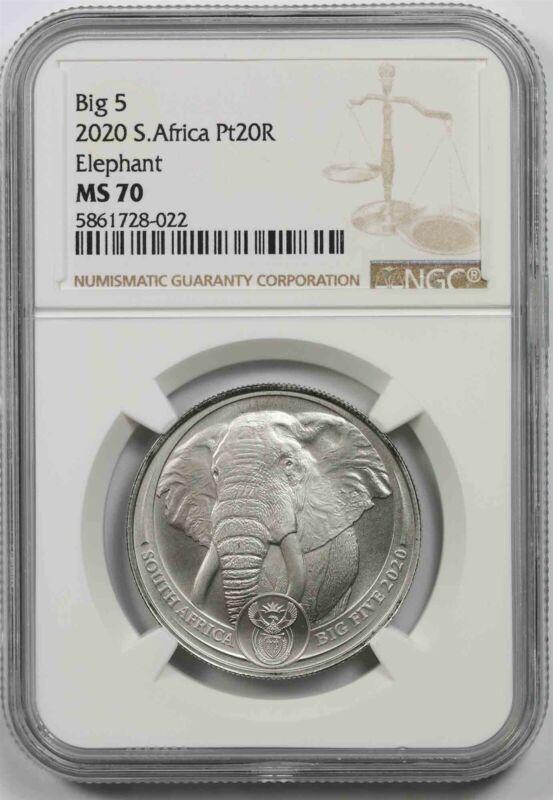 2020 South Africa Platinum 20 Rand NGC MS 70 Elephant Big 5