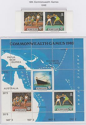Solomon Islands 12th Commonwealth Games1982 Miniature Sheet plus Pair of Stamps