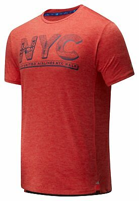 New Balance Men's 2020 United Airlines Half Printed Impact Run Short Sleeve Red