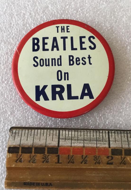 Vintage early Beatles Button Large sound best on KRLA radio station Los Angeles