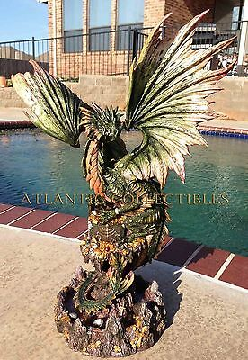 "Large 26"" Tall Green Pagoda Gold and Treasure Labyrinth Guardian Dragon Statue"