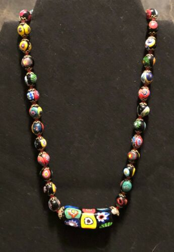 VENETIAN GLASS BEAD NECKLACE - MILLIFIORI - COLLECTIBLE - VINTAGE - HAND KNOTTED