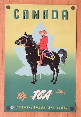 Original Vintage TCA - AIR CANADA - CANADA Airline Travel Silkscreen Poster