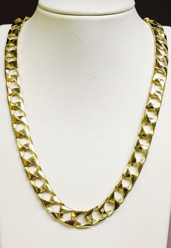 "10kt Solid Yellow Gold Handmade Curb Link Mens Chain/necklace 18"" 50 Grams 11mm"