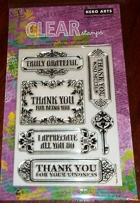 Clear Acrylic Hero Arts Stamps Truly Grateful   I Appreciate All    Wks Ctmh Blk