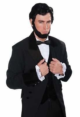 Abe Lincoln Adult Costume (Abe Lincoln Adult Wig Beard Set Black Historical President Costume)