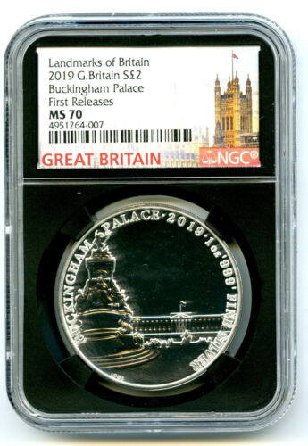 2019 S2PD GREAT BRITAIN 1 OZ SILVER NGC MS70 BUCKINGHAM PALACE FIRST RELEASES