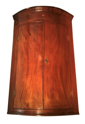 C. 1790 Hepplewhite English Bow Front Corner Cabinet W/ Inlay & Brass H Hinges