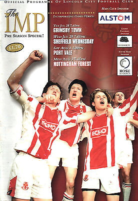 1998/99 Lincoln City v Grimsby/Sheff Wed/Port Vale/Nottm Forest, friendlies MINT