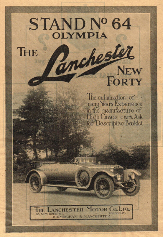 1919 Original Antique Lanchester 40 Car Art Print Ad