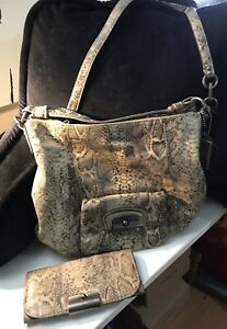 Coach snake print leather purse and wallet