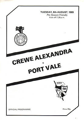 1989/90 Crewe Alexandra v Port Vale, friendly - PERFECT CONDITION