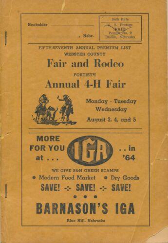 1964 Webster Co. Blue Hill, Nebraska Fair Rodeo Program, Auto Truck Directories