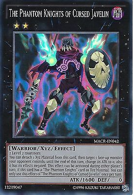 3 X YU-GI-OH CARD: THE PHANTOM KNIGHTS OF CURSED JAVELIN -SUPER RARE -MACR-EN042