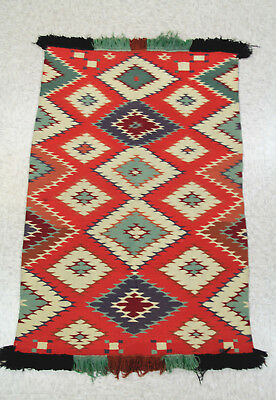 "Antique c1890 Navajo GERMANTOWN Yarn CHILD'S BLANKET 30""x48"" Eyedazzler Nr Mint"