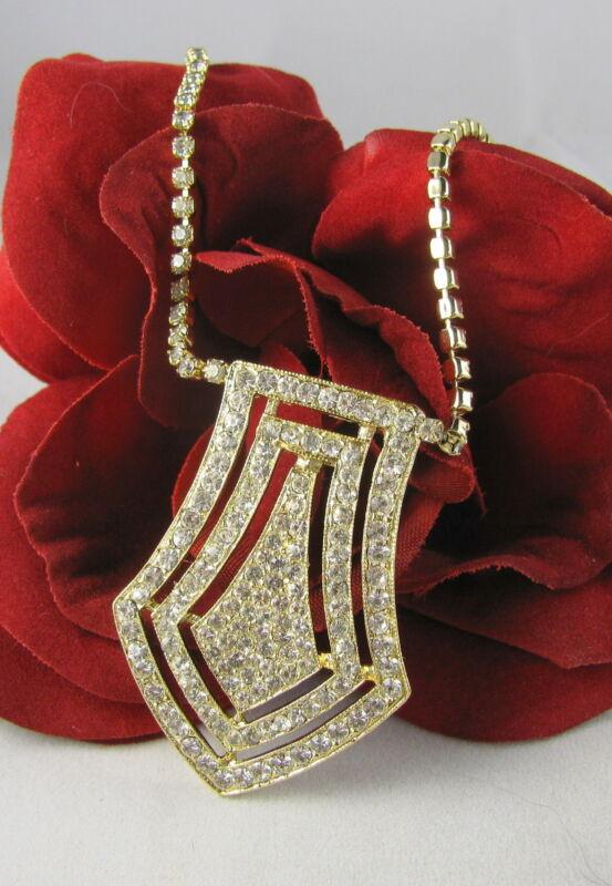 Vintage Pave White Rhinestone Gold tone  Necklace  CAT RESCUE