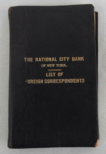 1922 The National City Bank of New York List of Foregin Correspondents Booklet