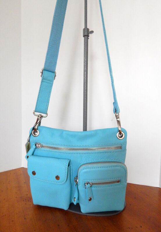 Fossil  Leather Sutton Sky Blue Crossbody Bag w/Detachable Adj. Strap  NWT  $158