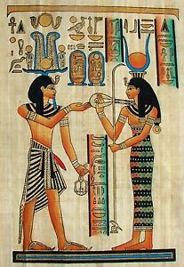 Egyptian-Hand-painted-Papyrus-Artwork-Ramses-III-Offering-to-Hathor-12-x-16