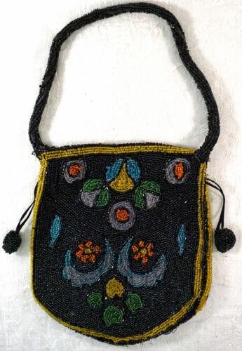 Antique Glass Beaded Purse / Handbag Black & Bright Colored Beads