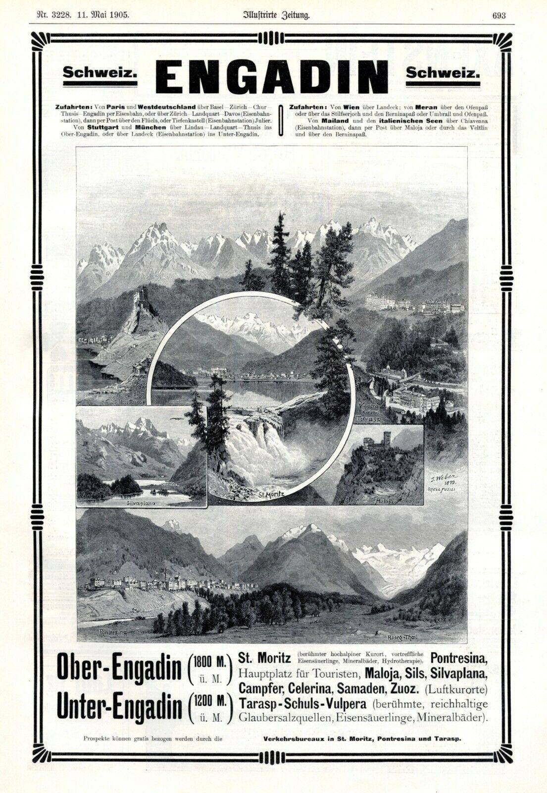 Engadin Schweiz XL Reklame 1905 St. Moritz Maloja Pontresina Tarasp Roseh-Thal