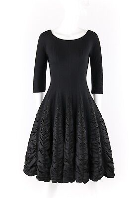 29da0c53bc2 Vtg ELINOR GAY Original c.1950 s Black Knit Fit N Flare Cocktail Party Dress
