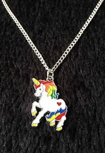 Silver Tone Colourful Unicorn Pendant 18
