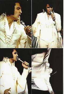 Elvis Presley 5 Photo Set-Rare White FRINGE SUIT- 1970 LA FORUM & FREE CD