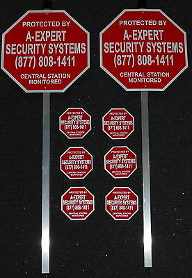 Home Security Burglar Alarm Warning Yard Signs & Stakes With 6 Security Decals