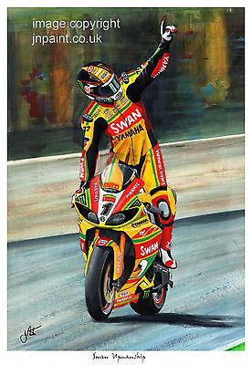 A3  ART PRINT - TOMMY HILL - SWAN YAMAHA - 2012 BRITISH SUPERBIKE