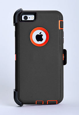 iPhone 6 iPhone 6s Case w/Holster Belt Clip fits Otterbox Defender Gray/Orange