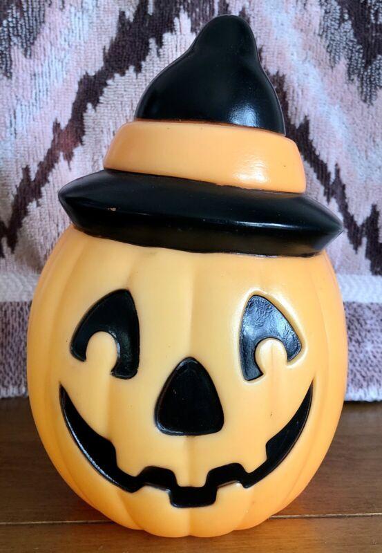 Vintage Pumpkin Witch Hat Blow Mold Plastic Empire Halloween