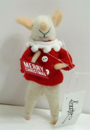 """Mouse Spun Wool Christmas Mouse With Red Sweater 4.5"""" NWT"""
