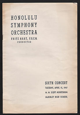 1947 Honolulu Symphony Orchestra with Fritz Hart conductor Program 6x10 Hawaii