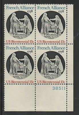 Allys Stamps Us Plate Block Scott  1753 13C French Alliance  5  Mnh  Lr38511