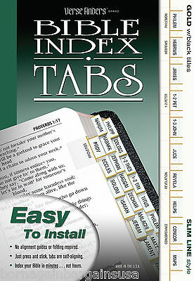 LONG LASTING Bible Index Tabs Book Divider Labels Slim GOLD Black Letters EZ Ins