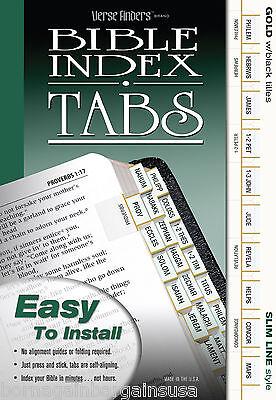 LONG LASTING Bible Index Tabs Book Divider Labels Slim GOLD Black Letters EZ Ins