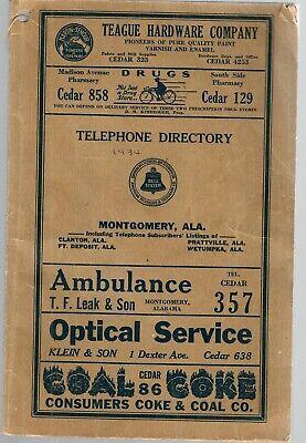 1934 ALABAMA TELEPHONE DIRECTORY MONTGOMERY-CLANTON-FT DEPOSIT-PRATTVILLE