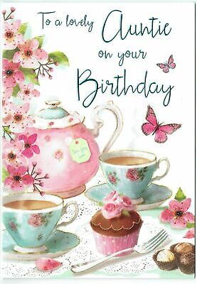 Auntie Birthday Card 'To A Lovely Auntie ' With A Vintage Tea Set Design